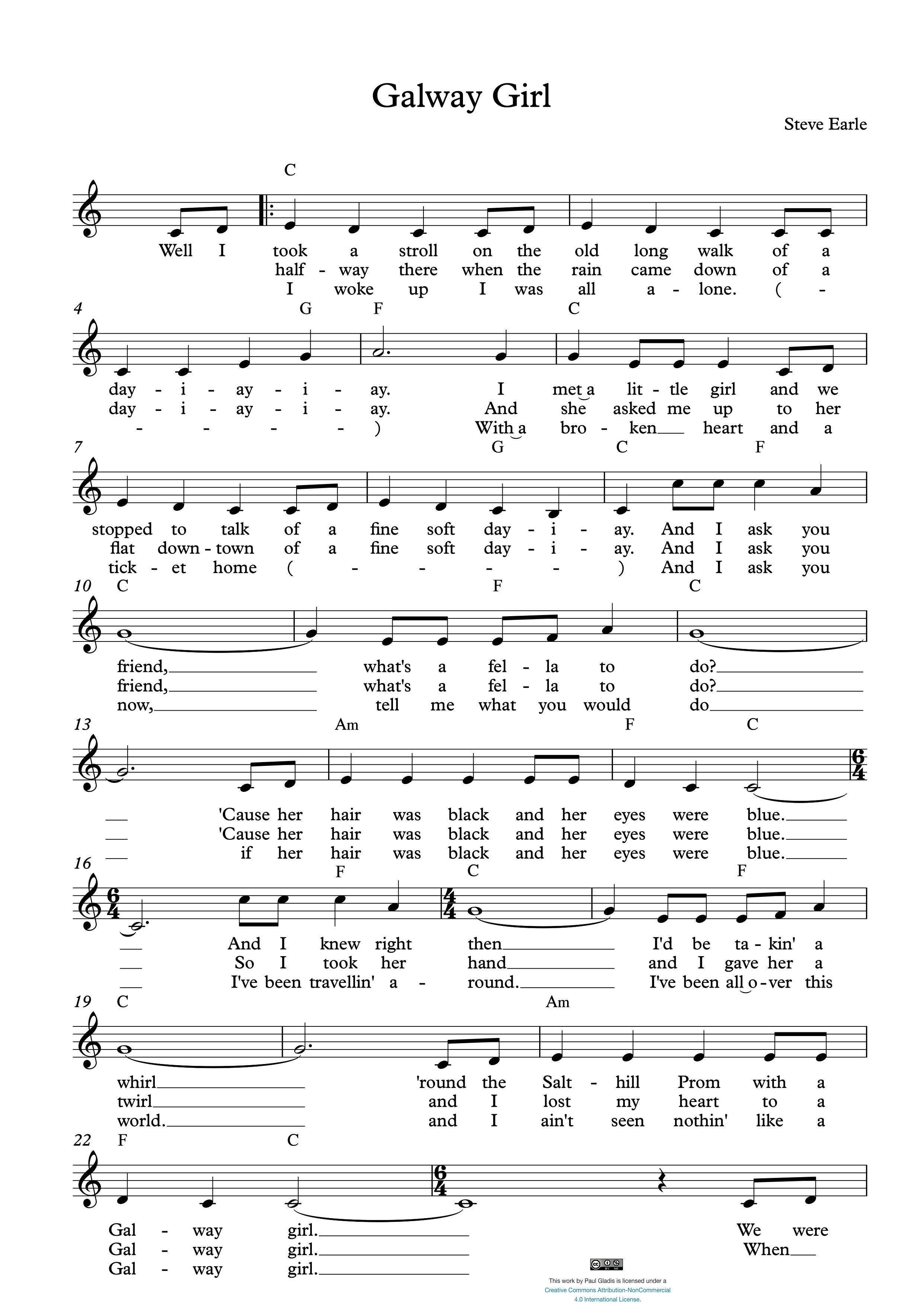 Sheet Music by Paul Gladis » Galway Girl