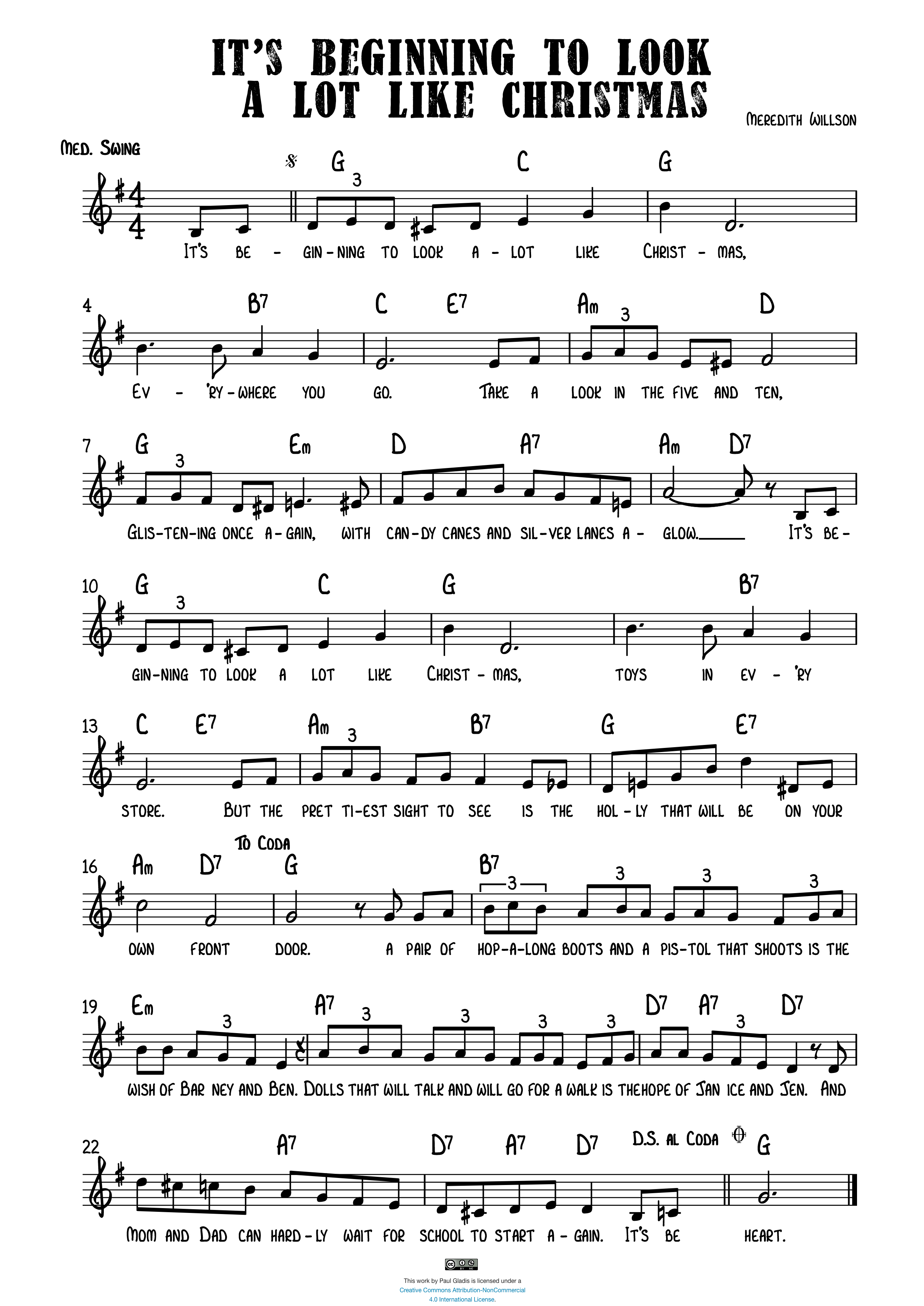 Sheet Music by Paul Gladis » It\'s Beginning to Look A Lot Like Christmas